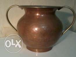 Old Vase, red copper, with hand made decorations, 35$