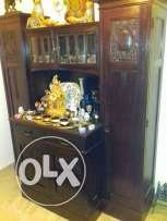 Antique 3 pieces vitrine with crystal windows