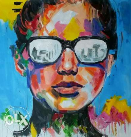 The Face - Large Pop Art Oil Painting - Huile sur toile - لوحات زيت