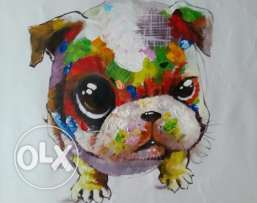 Oil painting - Cute Puppy - 60 x 60 cm