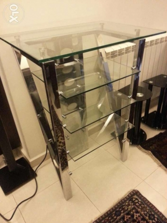 Stand console glass luxury design chrome