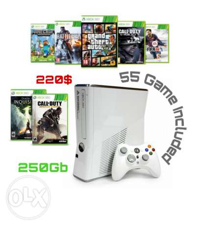 55 Game + Cracked Xbox 360 in Good Condition