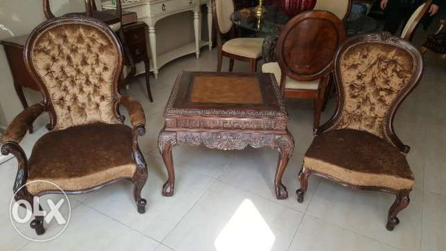2 Antique Chairs With Table.