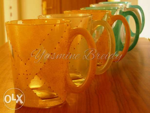 A collection of handmade crafted and painted cups 80$ instead of 180$ جديدة -  1
