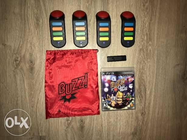 PS3 game BUZZ + 4 controllers