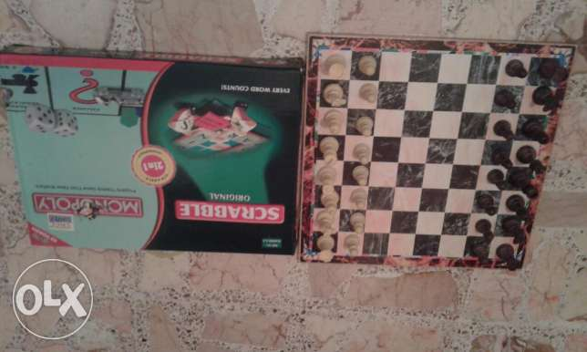 Chess,checkers,monopoly and scrabble