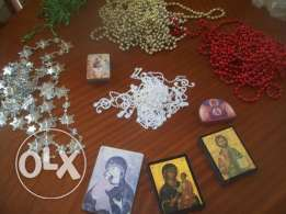 christmas decoration, grotto and decoration and icons 5 pcs
