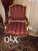 Salon - Set of 2 Louis 15 golden one seater