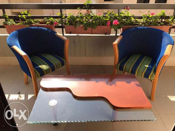 2 Arm Chairs and 1 center table for Sale