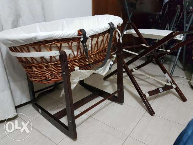 Wooden Crib and Bouncer. Lollipop make.