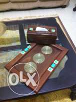 wooden tray and tissue box with real turquoise صينية خشب مع علبة محارم