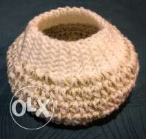 Handmade crochet white and gold winter hat