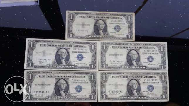 1935 Silver Certificate Dollars (Set of 5)