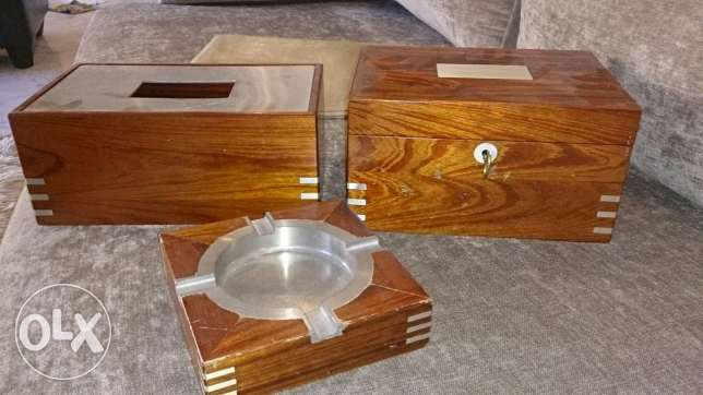Set of 3: wooden jewellery box, ashtray and kleenex box