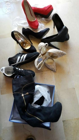 4 pairs of shoes high heels + running shoes