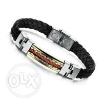High quality stainless steel leather baracelets (8 styles - 8 pics)