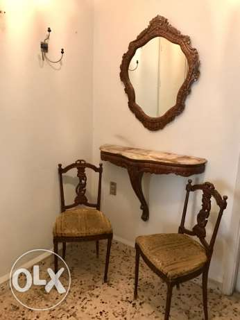 mirror + console + 2 chairs