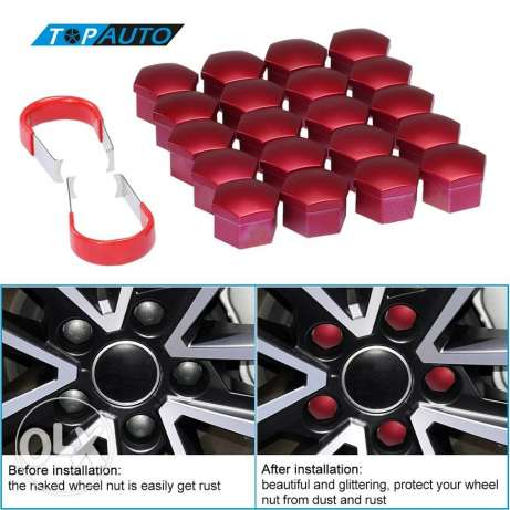 Universal car wheel red nut covers
