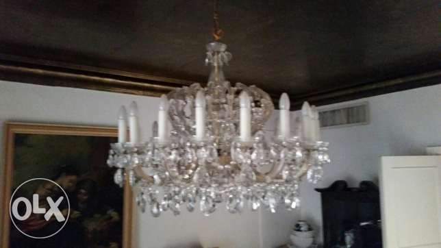 TWO Original Bohemian Crystal Chandeliers