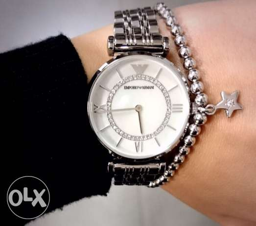 The most elegant white silver Armani women's watch