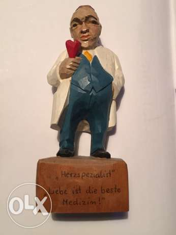hand made wooden vintage figurine