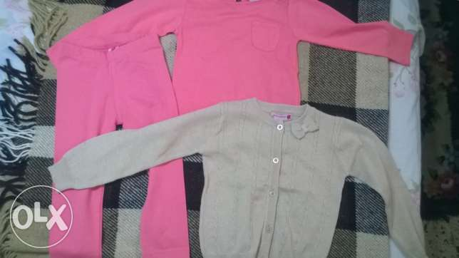 leggings, t-shirt and cardigan juniors size 2-3 years البطركية -  1
