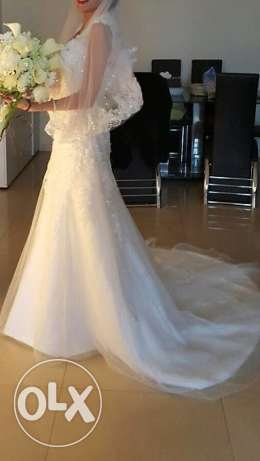 Wedding Dress With Short Veil - Dry Cleaning On Us !!