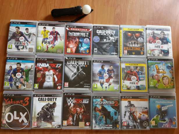 PS3 with two controllers and 19 games انطلياس -  1