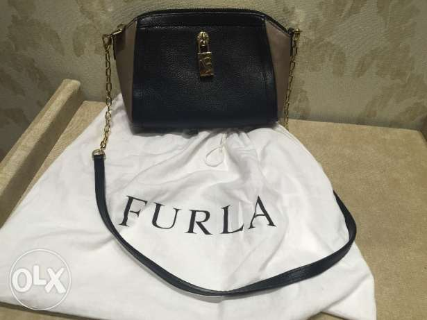 Black and brown Furla shoulder bag