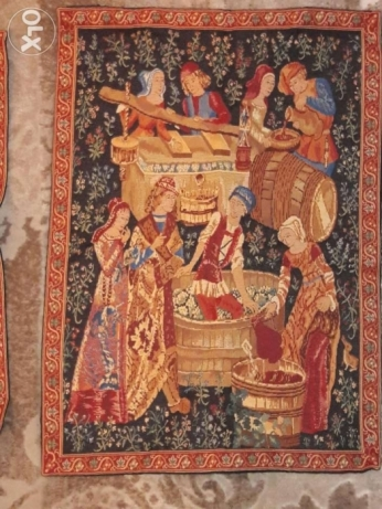 2 tapestry antiques(GRAPES) 63*45 cm made in Flanders