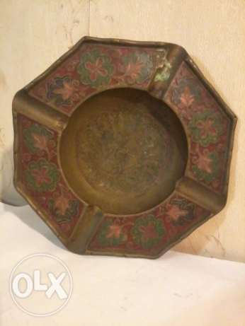 Antique ashholder, heavy copper hand made painted, 20cm, 20$,