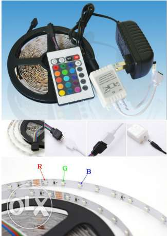 Hot! RGB led strip 5M 300led +24key IR remote controller +power adapte