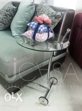 NEW glass side table $150