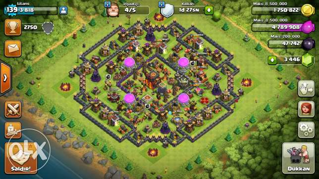 Clash of clans th 10 max 3500 gems lal jadin fakat