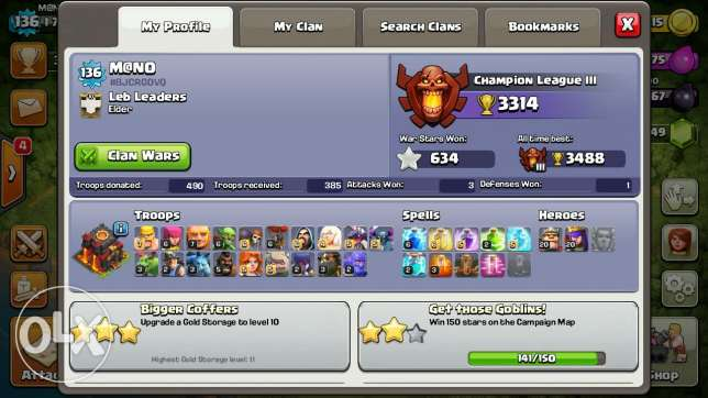 Clash of clans th10 MAX heroes 20 انطلياس -  2