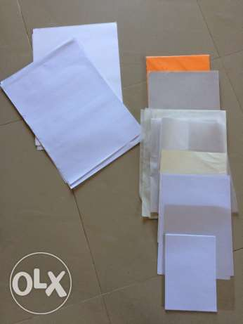 Variety of paper in size and material.