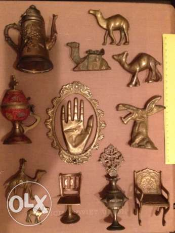 12 old brass items Camels hand Chair & others See Photos