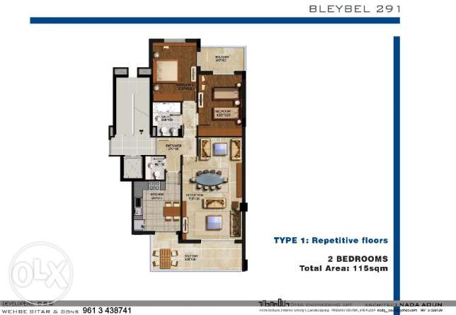 2 Bedrooms Apartment Deluxe specifications 1250$/SQM