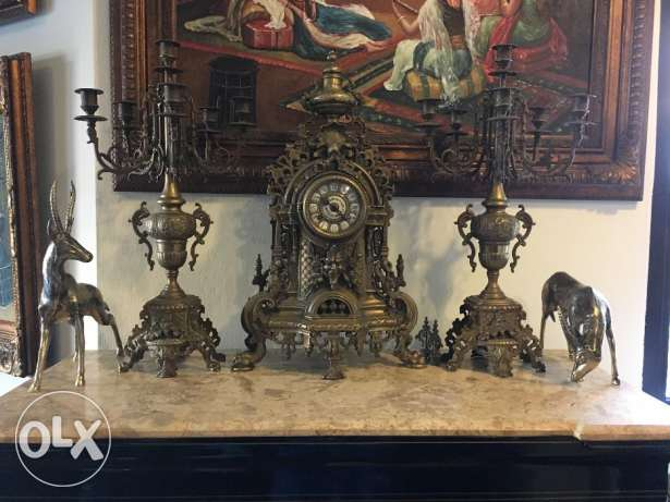 60cm Imperial Bronze Mantel Clock with Pair of Matching 5 Candelabras
