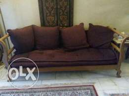 4 seater sofa, massif wood, with extra fabric