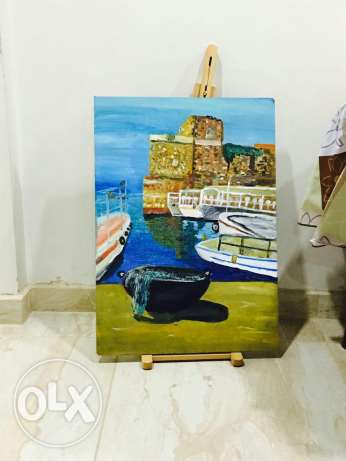 oil painting byblos castle jbeil