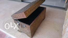 A very nice antique box covered with brass -27cm x 45cm x23cm