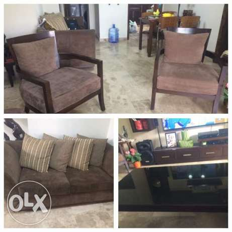 Bed Sofa Salon + Dining table + 2 chairs and center table