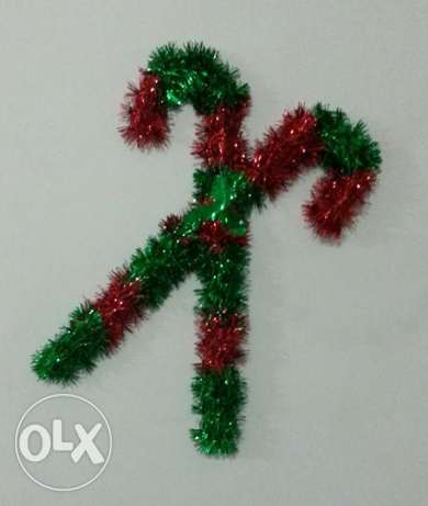 Christmas Tinsel Cane Wall Decoration