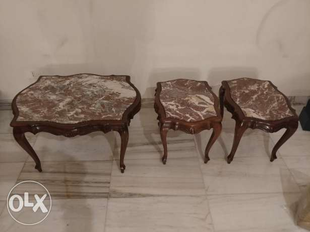 3 Salon Tables - Vintage Marble top (walnut)