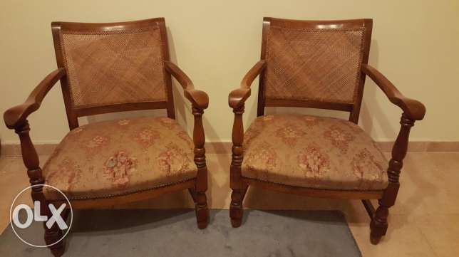 Pair vintage french antique bergere arm chairs