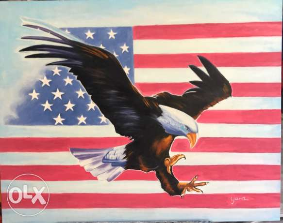 Beautiful American Eagle Oil Painting.