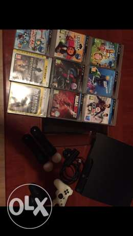 PS3 + 2 controlers + ps eye and 2 controlers + hdmi + 7 games جديدة -  1