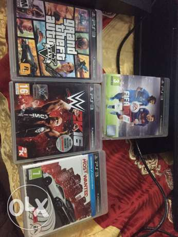 Ps3 (320gb) + masekten+ 4 games (fifa 16/ wwe2k16/ most wanted/ gta5) زغرتا -  2