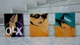 VINTAGE BEAUTIES - set of 3 paintings - oil on canvas - 25*30cm each